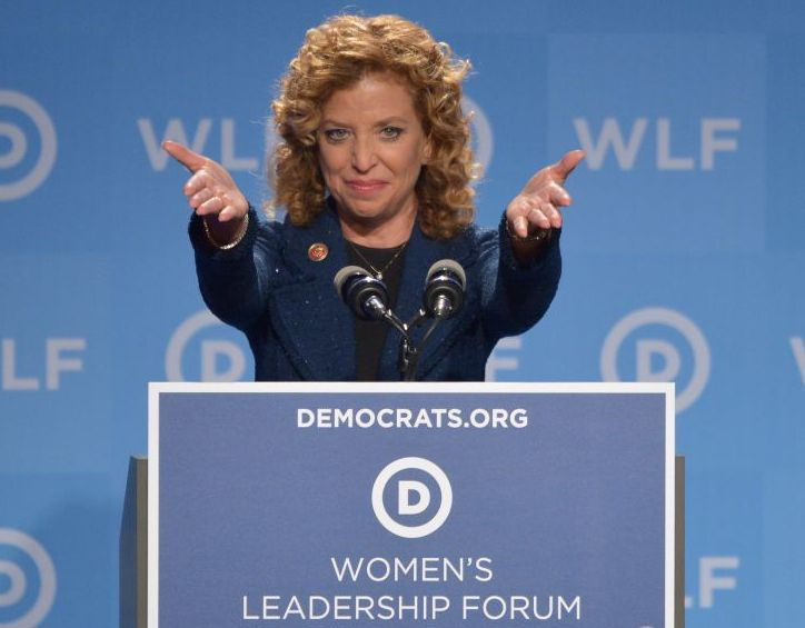 Democratic National Committee (DNC) Chair, Representative Debbie Wasserman Schultz, Democrat of Florida, speaks at the DNC's Leadership Forum Issues Conference in Washington, DC, on September 19, 2014. AFP PHOTO/Mandel NGAN (Photo credit should read MANDEL NGAN/AFP/Getty Images)