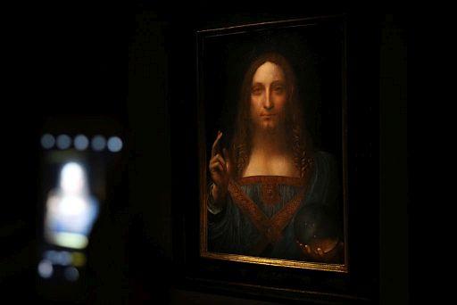 Leonardo da Vinci's Salvator Mundi painting at Christie's in New York
